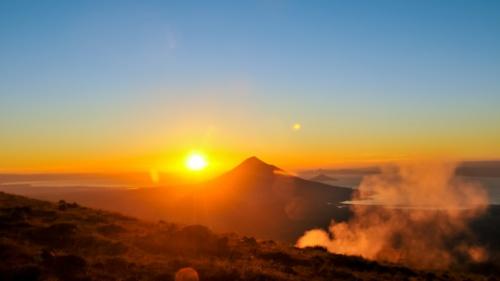 Sunrise over a mountain.