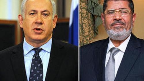 Israel's Prime Minister Benjamin Netanyahu and Egypt's President Mohammed Morsi
