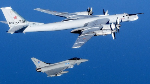A British RAF Typhoon interecepts a Russian bomber near UK airspace.