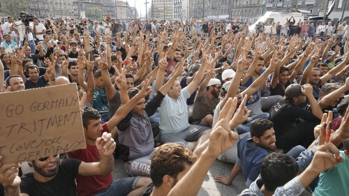 Syrian refugees strike in front of Budapest Keleti railway station.
