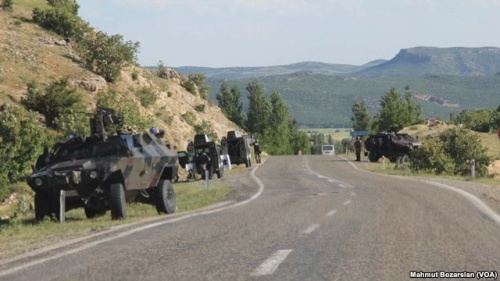 Army vehicles in the south-east of Turkey after a resumption of Kurdish separatist terrorism (August 2015).