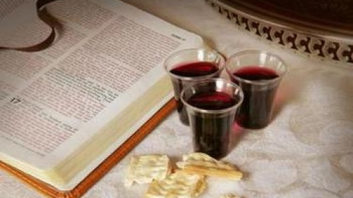 A Bible, unleavened bread and wine
