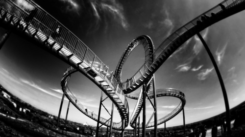 A twisting roller coaster.