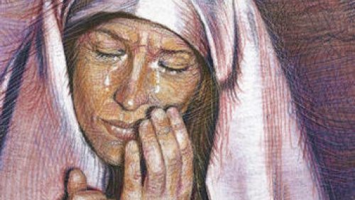 Painting of a woman crying.