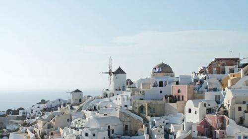A village in Greece along the coastline.