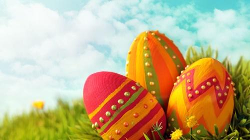 Decorative eggs in grass.