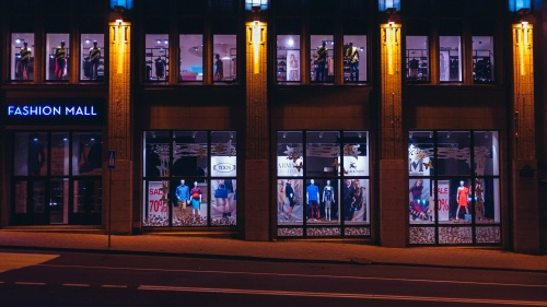 A storefront at night.