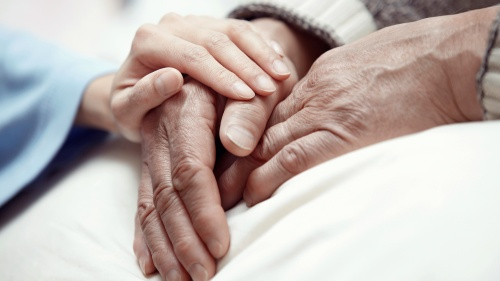 A young pair of hands comforting an elderly hand.