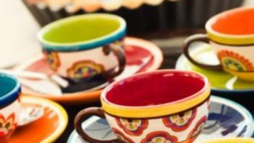 Brightly Colored Espresso Cups And A Tart - Keep It Simple, Warm and Cozy