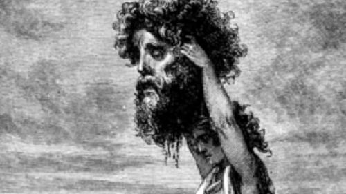 David raising huge head of Goliath with foot on body - King David: Man or Myth?