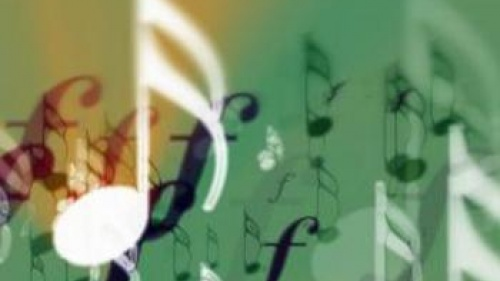 Green background with floating notes and music symbols - Melody in Our Hearts