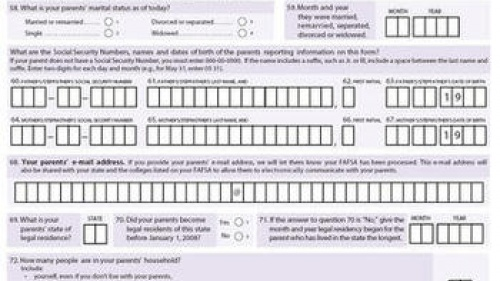 Example FAFSA form collecting parental information for 2013-2014.
