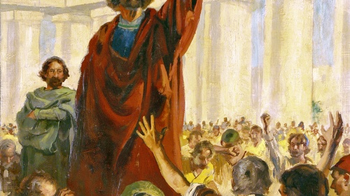 Painting illustrating Peter talking to a crowd.