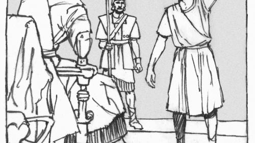 Illustration of Daniel addressing King Nebuchadnezzar.