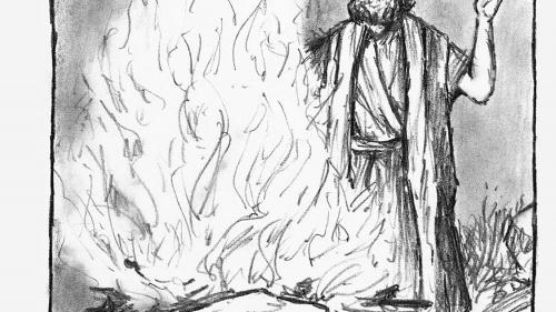 Illustration of Elijah giving a sacrifice.