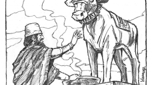 Illustration of Jeroboam and calf idol.