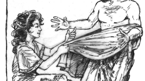 Illustration of Joseph fleeing from Potifar's wife.