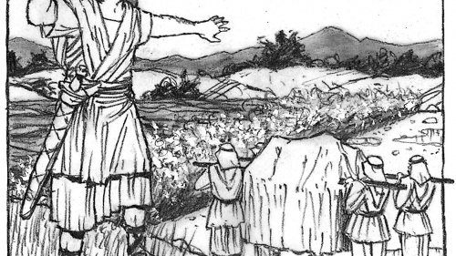 Illustration of Joshua and the crossing of the Jordan river.