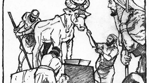 Illustration of Josiah tearing down the idols in Jerusalem, Judah and Israel.