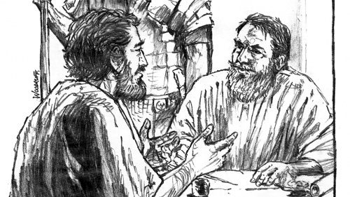 Illustration of Luke talking to Paul
