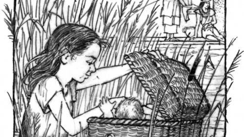Illustration of Miriam watching over Moses in a basket on the Nile River.