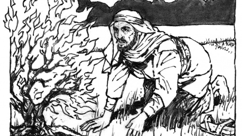 Illustration of Moses and the burning bush.