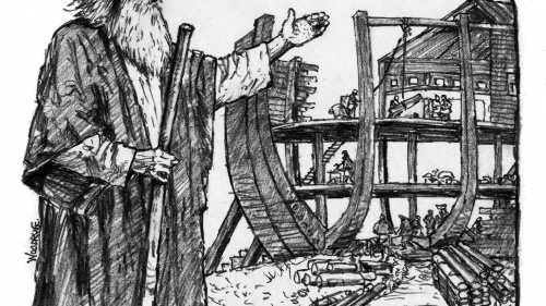 Illustration of Noah building the ark.