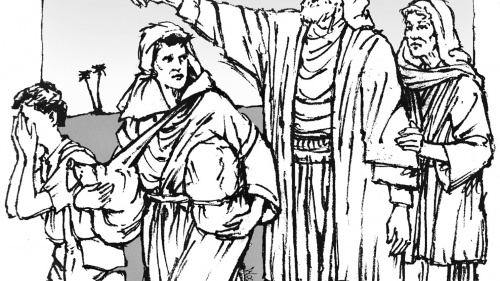 Illustration of Abraham and Sarah sending Hagar and Ishmael away.