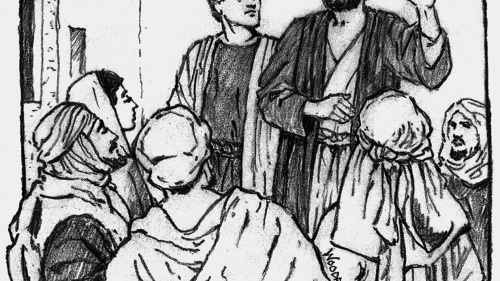Illustration of Paul and Timothy preaching.