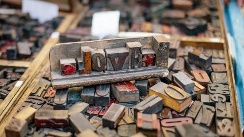"""Blocks of letter spelling """"love""""."""