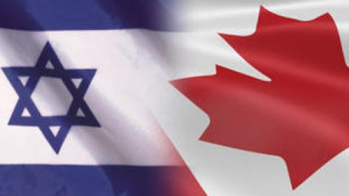 Flags from Israel and Canada