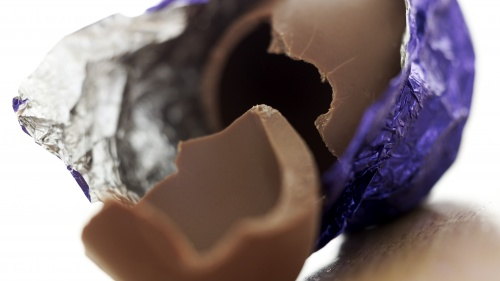A broken chocolate Easter egg.
