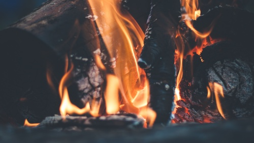 Upclose photo of a flame of fire for burning wood.