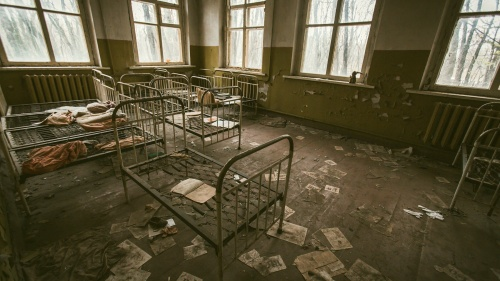 Metal frames of children's beds are all that are left in this abandoned room from the 1986 Chernobyl disaster.