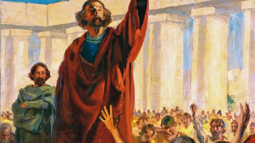 Painting illustrating the apostle Peter talking to a crowd.
