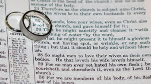 Wedding rings on top of Bible scripture - Ephesians 5:22-21