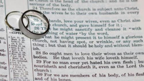 Wedding rings on top of Bible scripture - Ephesians 5:22-21