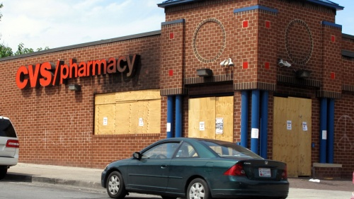 A looted CVS store in Baltimore.