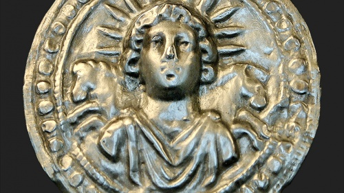Ancient Roman silver disk depicts Sol Invictus