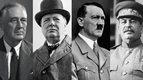Photos of Theodore Roosevelt, Winston Churchill, Adolf Hitler and Joseph Stalin