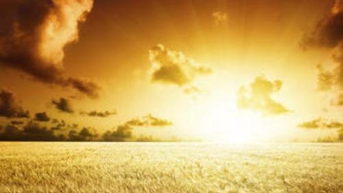 Bright sun shining through clouds