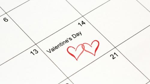 Valentine's Day on February 14 calendar.