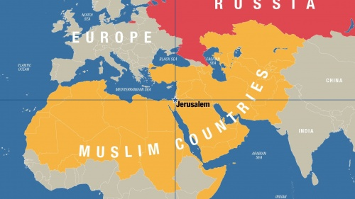 Map featuring Jerusalem at the center.