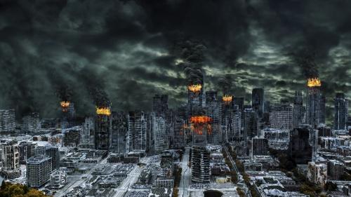 Illustration of burning large city.