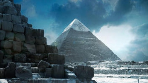 Snow on top of a pyramid.
