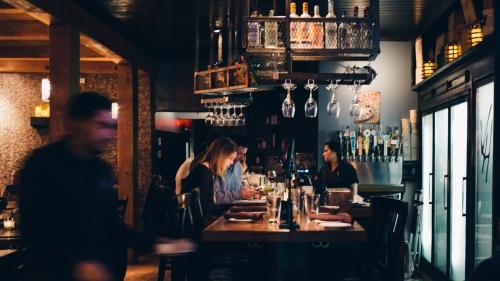 A bar in a restaurant.
