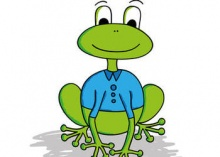 cartoon frog wearing clothes