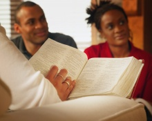 Young people studying the Bible.