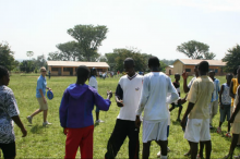 Children in Ghana playing frisbee