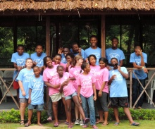 Campers and staff in the Caribbean